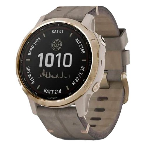 Garmin Fenix 6S Pro Solar Light Gold Shale Grey Suede